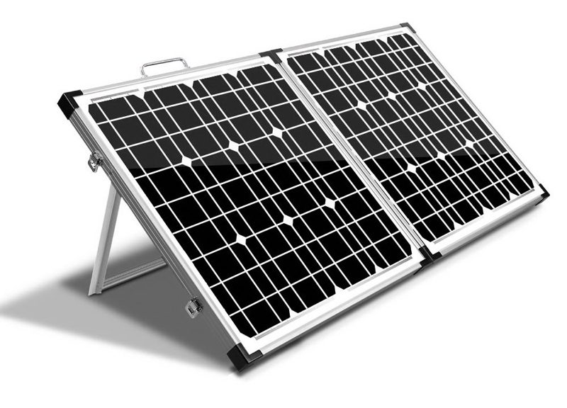 Camping solar panels on a sloped frame.